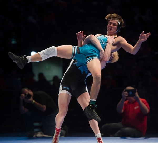 (Rick Egan | The Salt Lake Tribune) Ryan Hansen (Sky View) defeats Brady Lowry (Canyon View) (Dec 8-5) in the 145 weight class, in the 4A State Wrestling at UVU in Orem, Saturday, February 10, 2018.