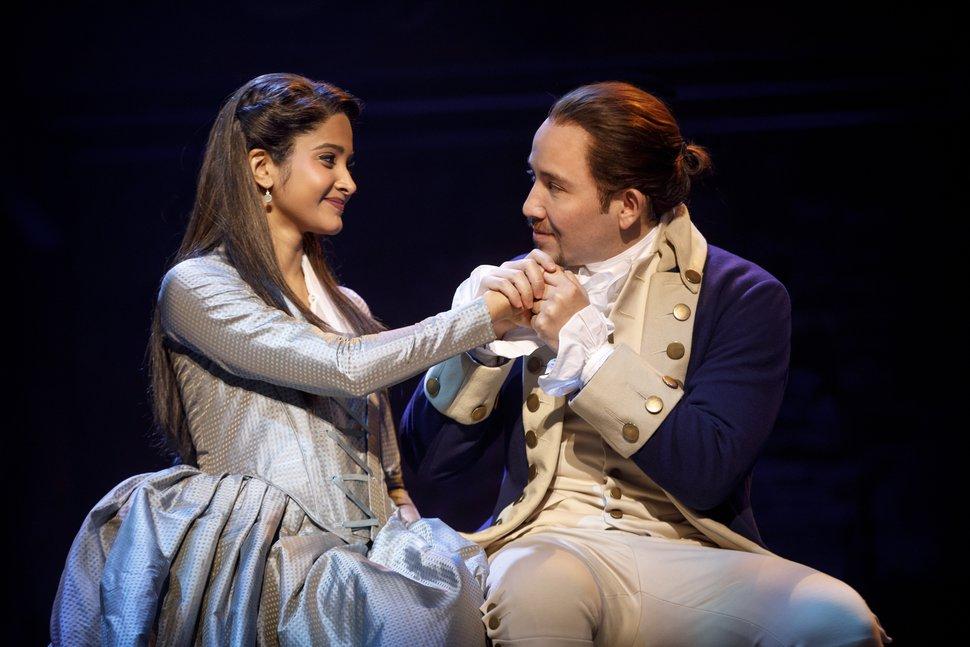 (Courtesy photograph by Joan Marcus) Shoba Narayan as Eliza Hamilton with Joseph Morales as Alexander Hamilton in the second national cast of
