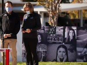 (Francisco Kjolseth  |  The Salt Lake Tribune) Matt and Jill McCluskey speak during a memorial walk on Thursday, Oct. 22, 2020, held at the track where their daughter Lauren McCluskey, a University of Utah student and track athlete used to compete. McCluskey was murdered by an ex-boyfriend who abducted her from her dorm room at the University of Utah.