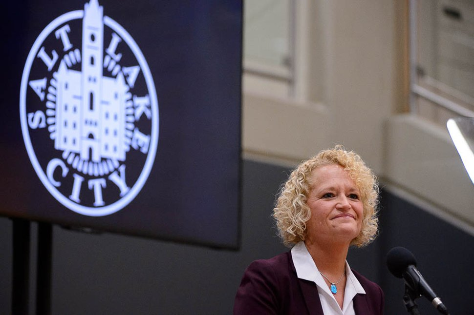 (Trent Nelson | The Salt Lake Tribune) Salt Lake City Mayor Jackie Biskupski gives her State of the City address at East High School in Salt Lake City on Thursday Jan. 17, 2019.