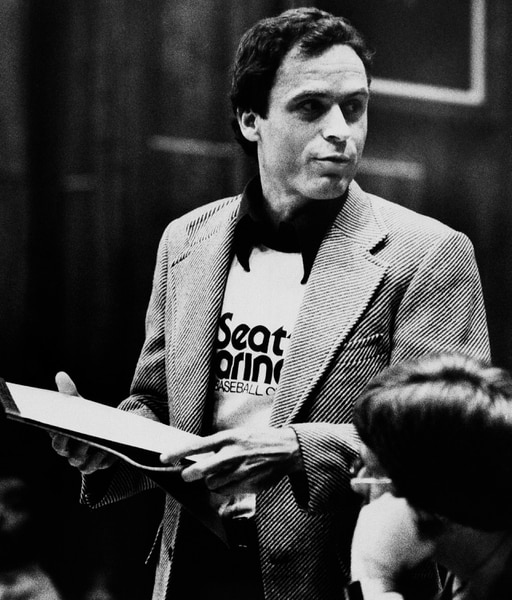 (Associated Press file photo) Ted Bundy, wearing a Seattle Mariners T-shirt, presenting his own motions on July 6, 1979, in the Miami courtroom where he was on trial for the January 1978 murders of two Florida State University students.