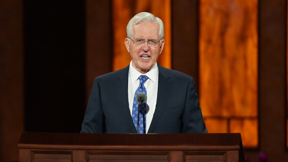 (Photo courtesy of The Church of Jesus Christ of Latter-day Saints) Elder D. Todd Christofferson of the Quorum of the Twelve Apostles speaks at the Saturday afternoon session of General Conference on Oct. 3, 2020.