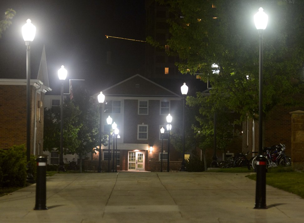(Steve Griffin | The Salt Lake Tribune) Lights in the student housing area at the University of Utah campus in Salt Lake City Wednesday May 9, 2018.