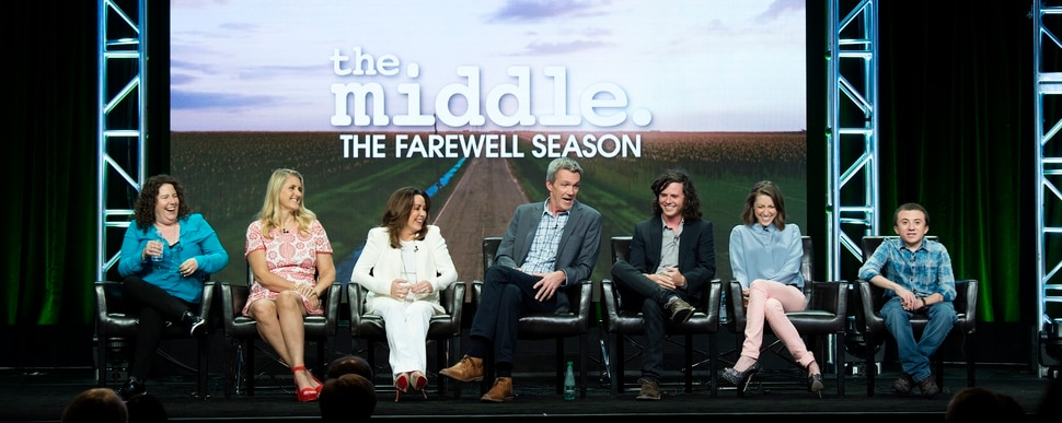 "(Photo courtesy of ABC/Image Group LA) The cast and producers of ABC's ""The Middle"" — Patricia Heaton, Neil Flynn, Charlie McDermott, Eden Sher, Atticus Shaffer, executive producer Eileen Heisler and executive producer DeAnn Heline."