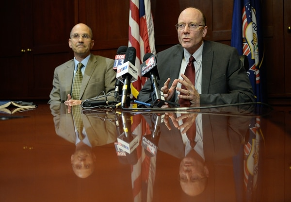Francisco Kjolseth   The Salt Lake Tribune Paul Edwards, Deputy Chief of Staff for Utah Gov. Gary Herbert, left, and Alan Matheson, Executive Director of the Department of Environmental Quality, address the media following a brief visit by Scott Pruitt, the EPA administrator to Utah on Tuesday, July 18, 2017.