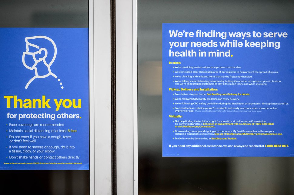 (Trent Nelson | The Salt Lake Tribune) Signs detailing COVID-19 procedures and precautions at Best Buy in Salt Lake City on Monday, June 22, 2020.