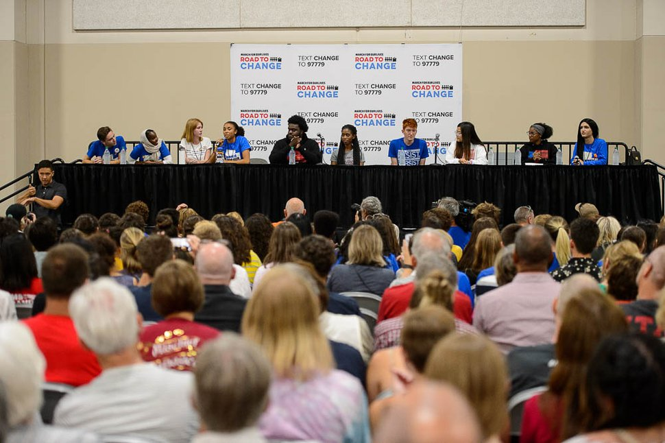 (Trent Nelson | The Salt Lake Tribune) Student activists involved with the March for Our Lives movement speak at a town hall at the Mountain America Expo Center in Sandy, Saturday July 14, 2018.