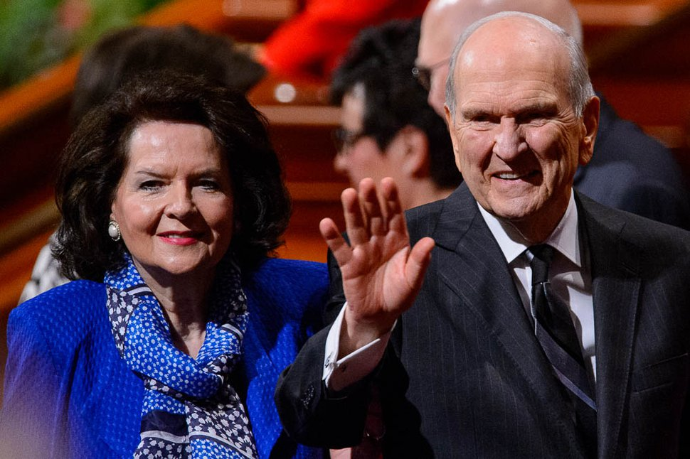 (Trent Nelson | The Salt Lake Tribune) President Russell M. Nelson waves at the General Conference of The Church of Jesus Christ of Latter-day Saints in Salt Lake City, Saturday Oct. 6, 2018. At left is Nelson's wife, Wendy Watson Nelson.