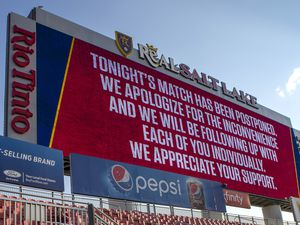 (Rick Egan     The Salt Lake Tribune)     The game between Real Salt Lake and LAFC has was postponed less than an hour before game time, after teams in sports leagues across the country boycotted scheduled games to protest the police shooting of Jacob Blake, RSL and LAFC followed suit, along with the rest of MLS, on Wednesday, Aug. 26, 2020.