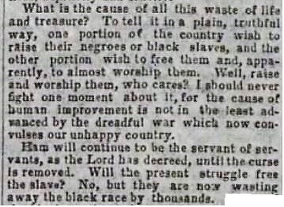 This is an Oct. 14, 1863, clip from the LDS Church-owned Deseret News reporting on Brigham Young's General Conference talk of Oct. 6.