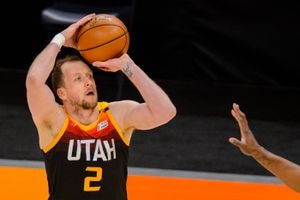 (Trent Nelson  |  The Salt Lake Tribune) Utah Jazz guard Joe Ingles (2) shoots as the Utah Jazz host the Brooklyn Nets, NBA basketball in Salt Lake City on Wednesday, March 24, 2021.