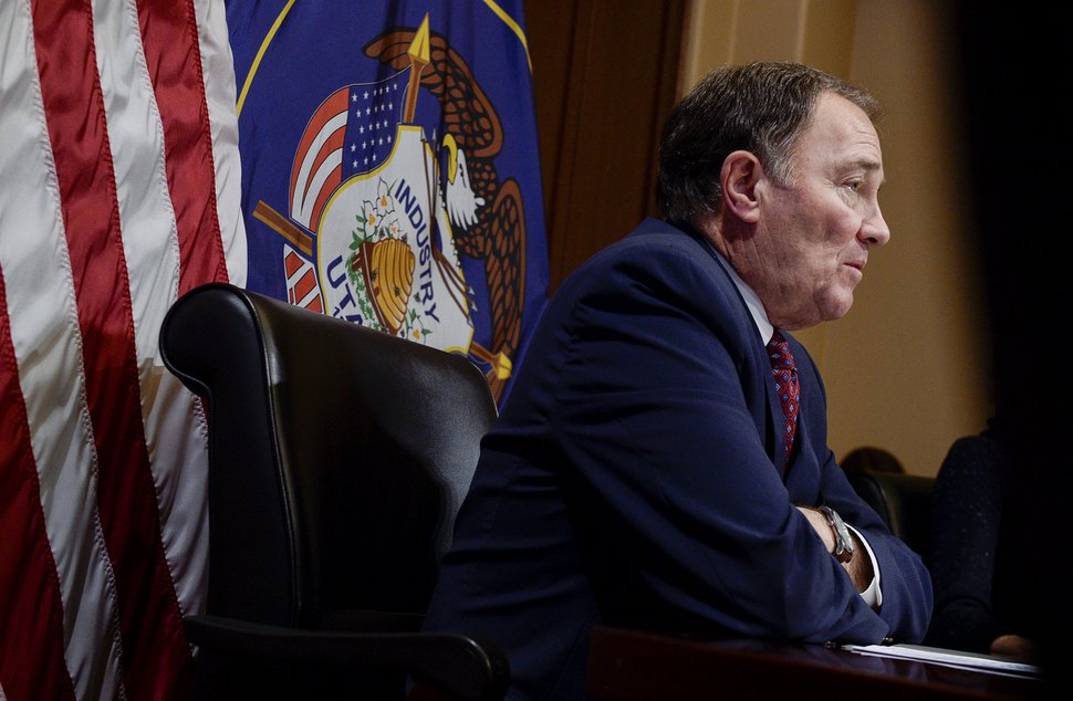 Leah Hogsten | The Salt Lake Tribune Governor Gary R. Herbert discusses SB96 and the bills similarities with Proposition 3 during availability with media representatives during the legislative session, Feb. 7, 2019.