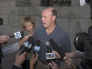 (Paul Fraughton | Tribune file photo) Tamara and Richard Davis, the parents of Kiplyn Davis, talk to the press after a court appearance of Timmy Brent Olsen at the federal courthouse in Salt Lake City, Sept. 26, 2005.