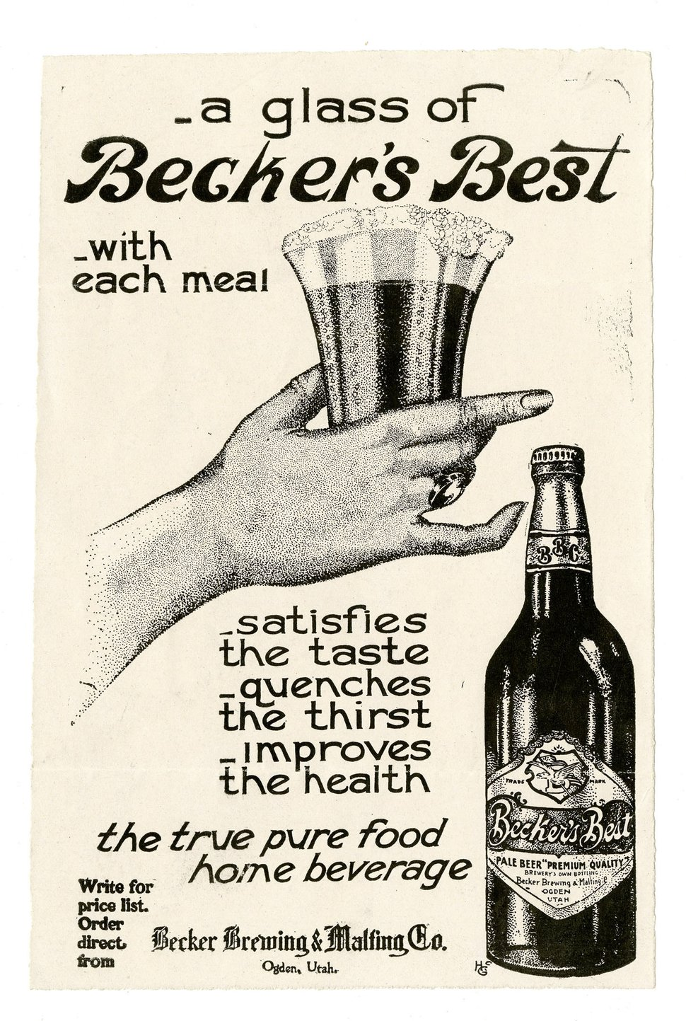 Courtesy image A newspaper ad, circa 1910, promoting beer made by The Becker Brewing and Malting Factory, in Ogden.