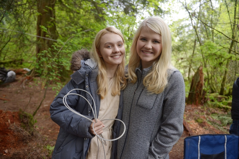 "(Photo courtesy of Sergei Bachlakov/Lifetime) Alana Boden and Elizabeth Smart on location during the filming of ""I Am Elizabeth Smart."""