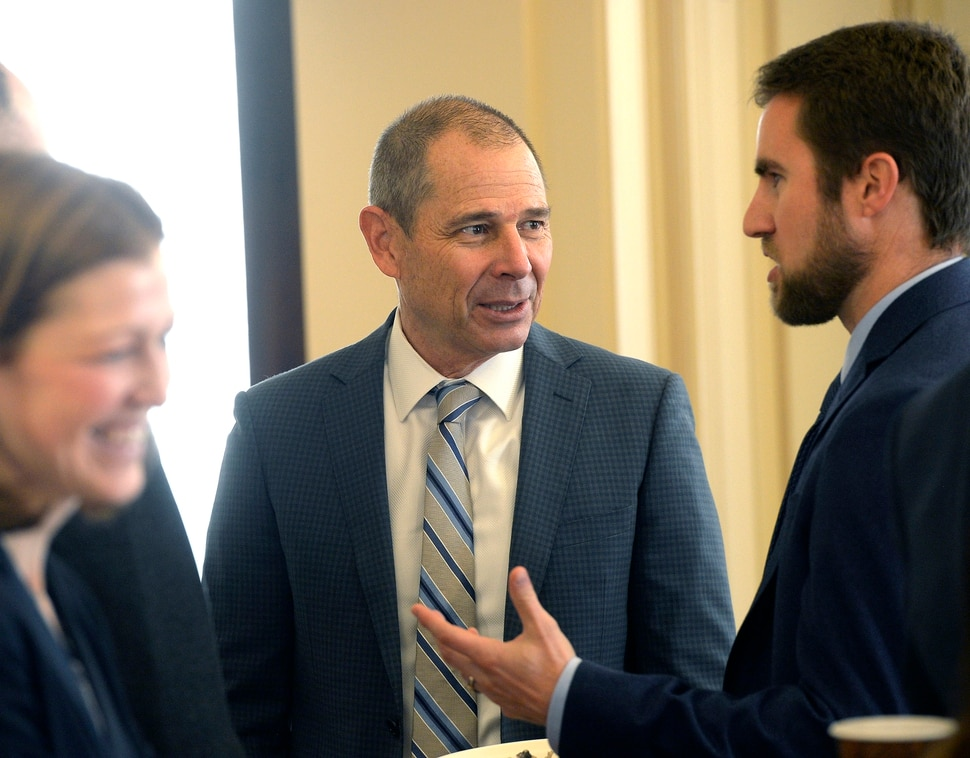 (Al Hartmann | The Salt Lake Tribune) Congressman elect John Curtis socializes before speaking to audience at University of Utah's Kem C. Gardner Policy Institute in Salt Lake City Wednesday Nov. 8 the day after winning the race for the 3rd congressional district.