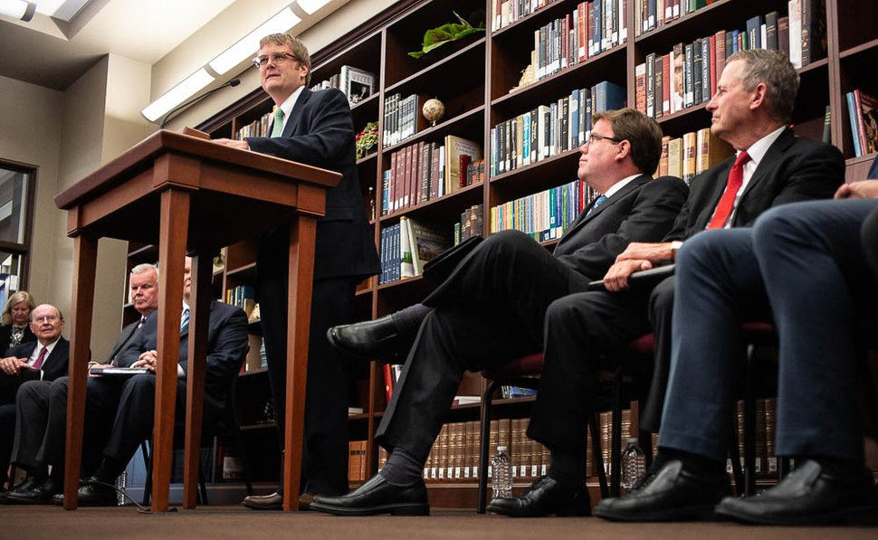 (Trent Nelson | The Salt Lake Tribune) Matthew J. Grow, director of publications for the LDS Church History Department, speaks at a news conference regarding the LDS Church publishing the first volume of new history,