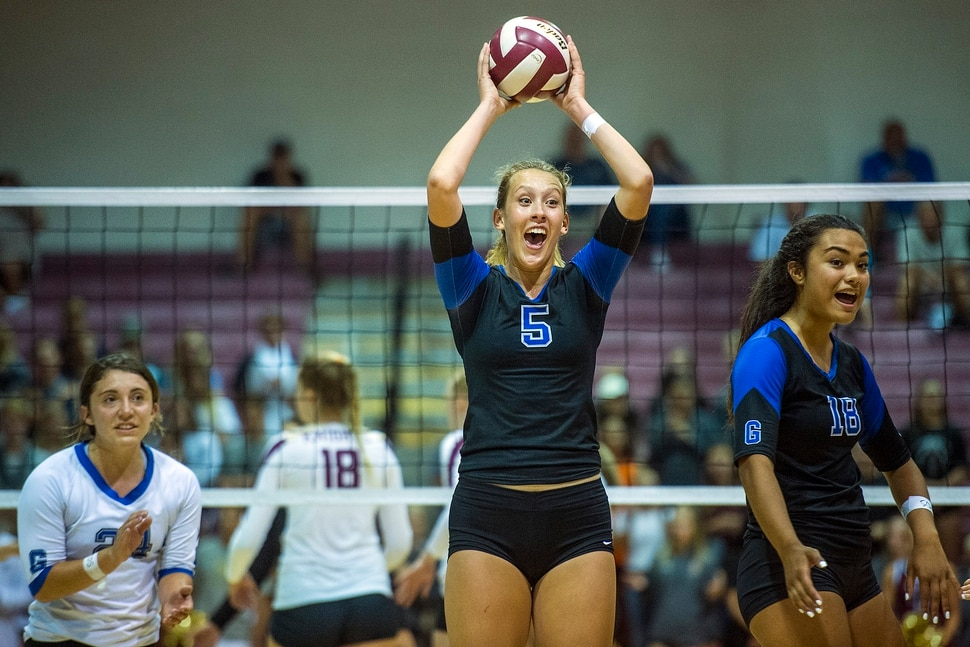 (Chris Detrick | The Salt Lake Tribune) Pleasant Grove's Heather Gneiting (5) celebrates winning a point during the volleyball match at Lone Peak High School Tuesday, September 5, 2017.