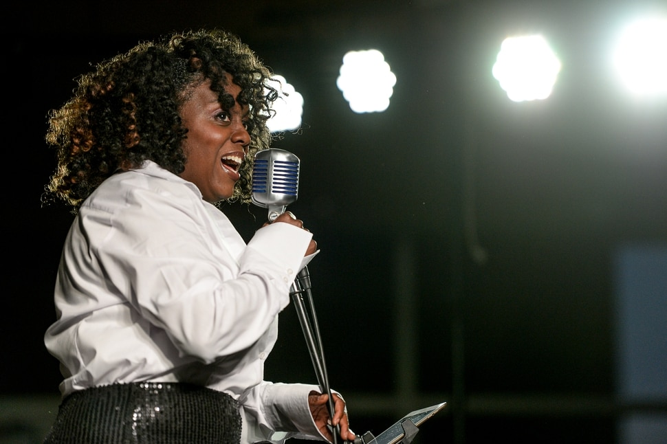 (Francisco Kjolseth | The Salt Lake Tribune) Dee-Dee Darby-Duffin, Salt Lake City jazz singer and actress, sings at the Gallivan Center on Wednesday, March 11, 2020.
