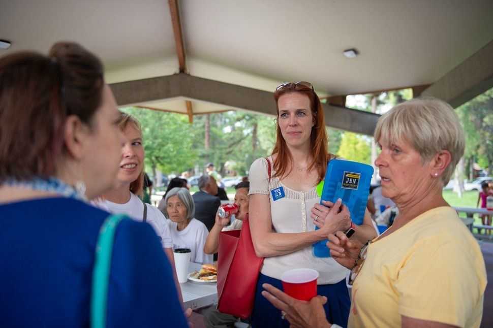 (Rachel Molenda | The Salt Lake Tribune) House District 24 candidate Jennifer Dailey-Provost, second from right, speaks with Utah Democrat disability caucus chair Jennifer Miller-Smith, Salt Lake County Commission candidate Lisa Gehrke and Jenn Stephenson , right, at a candidate meet-and-greet at Liberty Park in Salt Lake City on Wednesday, July 11, 2018.