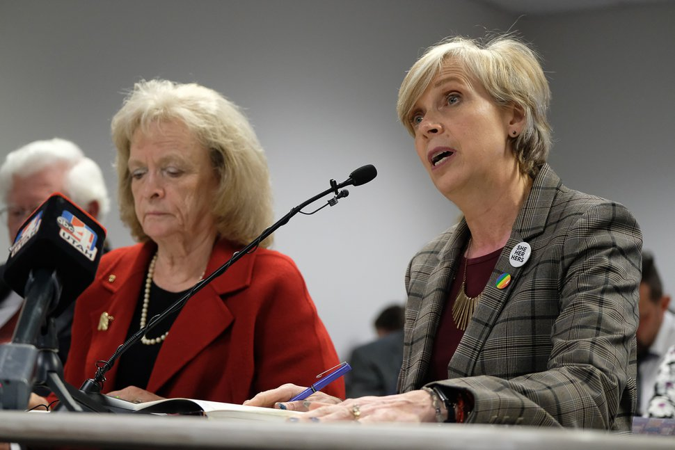 (Francisco Kjolseth | Tribune file photo) Gayle Ruzicka, political activist and leader of the conservative Utah Eagle Forum, left, waits her turn to speak as Lisa Tensmeyer, Director of Clinical Services at Flourish Counseling speaks in support of a proposed ban on conversion therapy during a public hearing before state regulators in Salt Lake City on Thursday, Sept. 26, 2019.