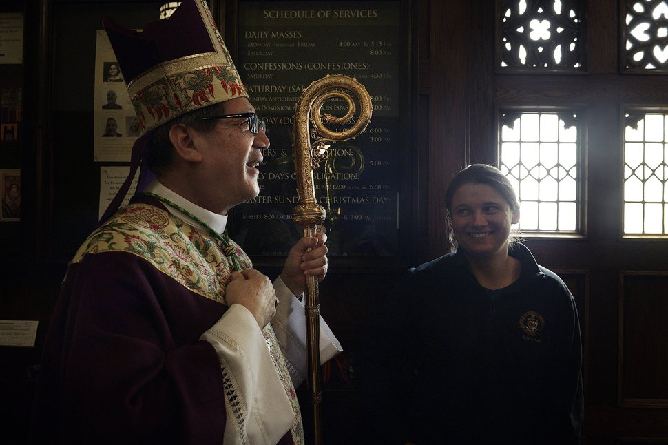 Scott Sommerdorf | The Salt Lake Tribune Catholic Bishop Oscar A. Solis speaks with visitors as he waits to enter the cathedral to lead Mass on the third Sunday of Lent, Sunday, March 4, 2018. March 7th will mark his first anniversary of his installation as the tenth Bishop of Salt Lake City.