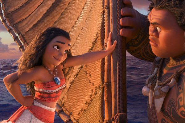 """(Disney) Moana, left (voiced by Auli'i Cravalho) stands her ground with the demigod Maui (voiced by Dwayne Johnson) in Disney's movie """"Moana."""" A study by a Brigham Young University developmental psychologist finds that children who engage in Disney's """"princess culture"""" — with characters such as Moana — develop more progressive views about women."""