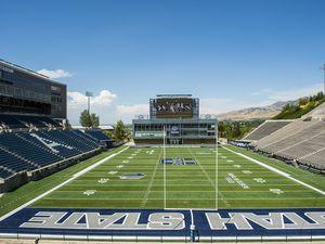 Chris Detrick  |  The Salt Lake TribuneMerlin Olsen Field at Maverik Stadium at Utah State University Wednesday August 17, 2016.