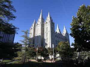 FILE - In this Oct. 5, 2019, file photo, The Salt Lake Temple stands at Temple Square in Salt Lake City. (AP Photo/Rick Bowmer, File)