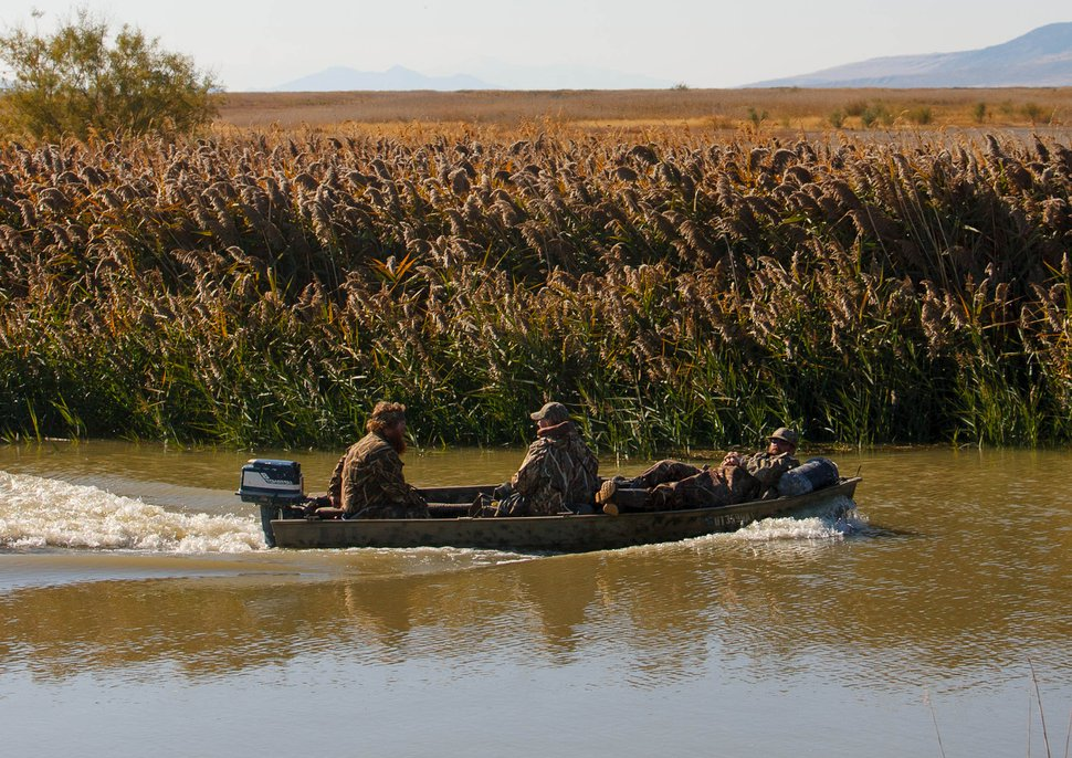 (Trent Nelson | The Salt Lake Tribune File photo) Duck hunters at the Bear River Migratory Bird Refuge in 2013.