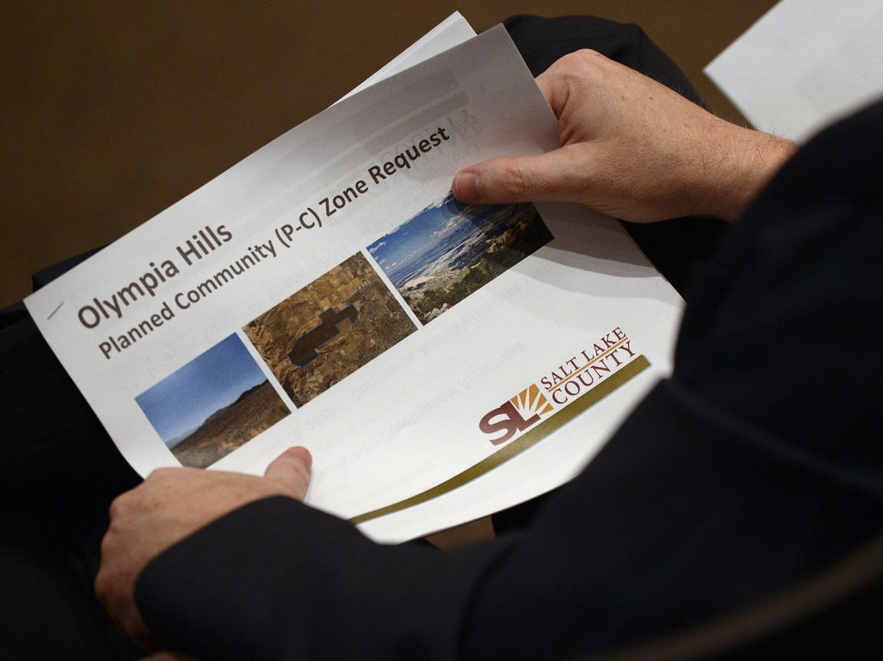 (Leah Hogsten | The Salt Lake Tribune) Salt Lake County Council members hear from Salt Lake County residents regarding the proposed 933 acre Olympia Hills, high-density development proposed just west of Herriman.