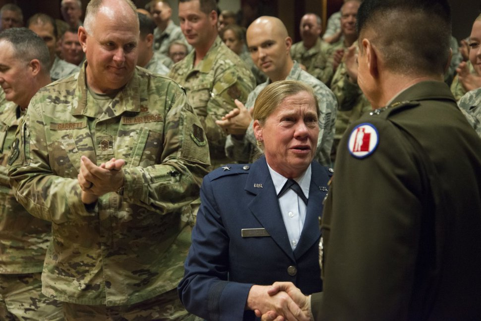 (U.S. Air National Guard photo by Staff Sgt. Danny Whitlock) The Utah National Guard, Assistant Adjutant General for Air Brig. Gen. Christine M. Burckle receives the Legion of Merit August 29, 2019 at Roland R. Wright Air National Guard Base. The Legion of Merit is awarded to those officers and enlisted of the armed forces who distinguish themselves by exceptional meritorious conduct in the performance of outstanding services.