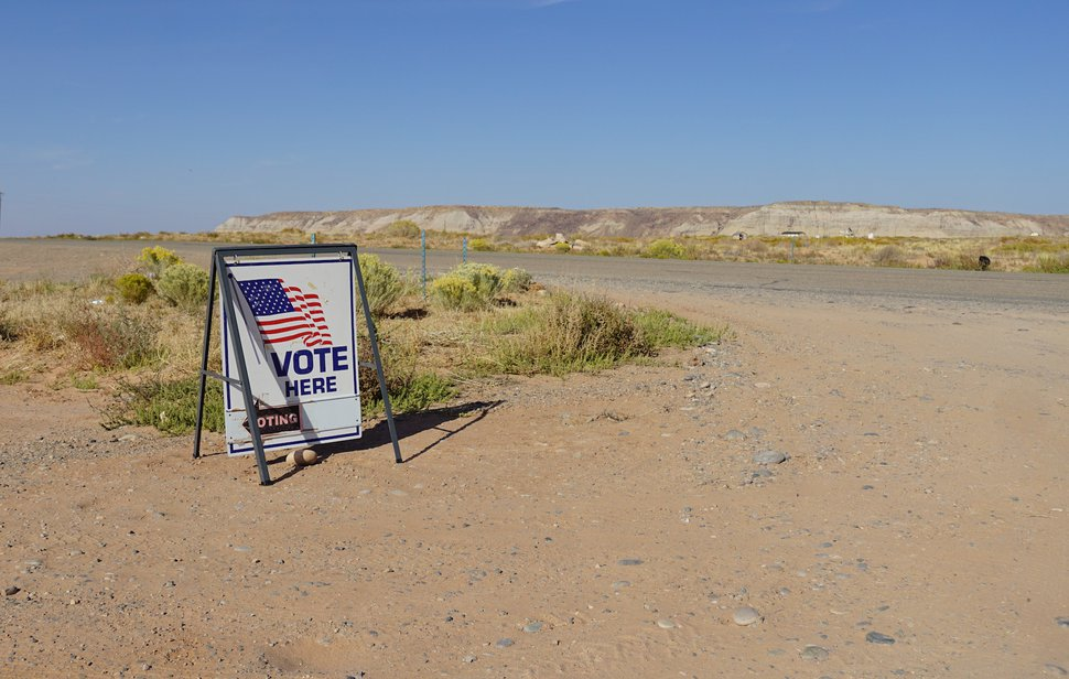 (Zak Podmore | The Salt Lake Tribune) Signs mark an early voting day at the Red Mesa Chapter House on the Navajo Nation in San Juan County on Oct. 8, 2020.