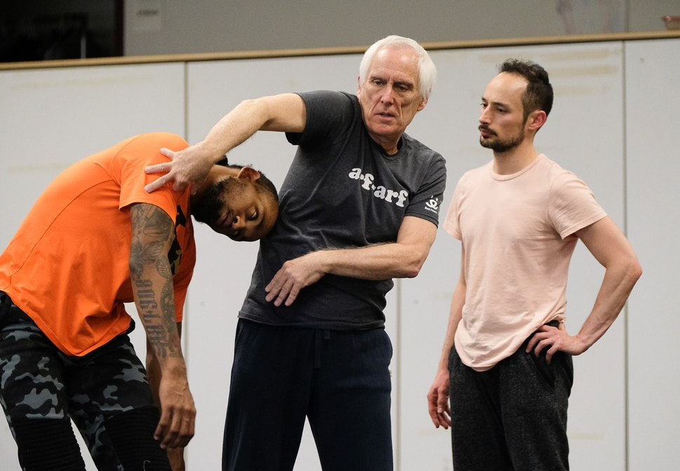 (Francisco Kjolseth | The Salt Lake Tribune) Choreographer Stephen Koester, a Professor as well as Chair in the Department of Modern Dance at the University of Utah works with dancers Bashaun Williams, left, and Yebel Gallegos at the Rose Wagner Performing Arts Center Black Box Theater recently for an upcoming performance. As he gets ready to retire, this will be his final performance with the Ririe-Woodbury Dance Company.