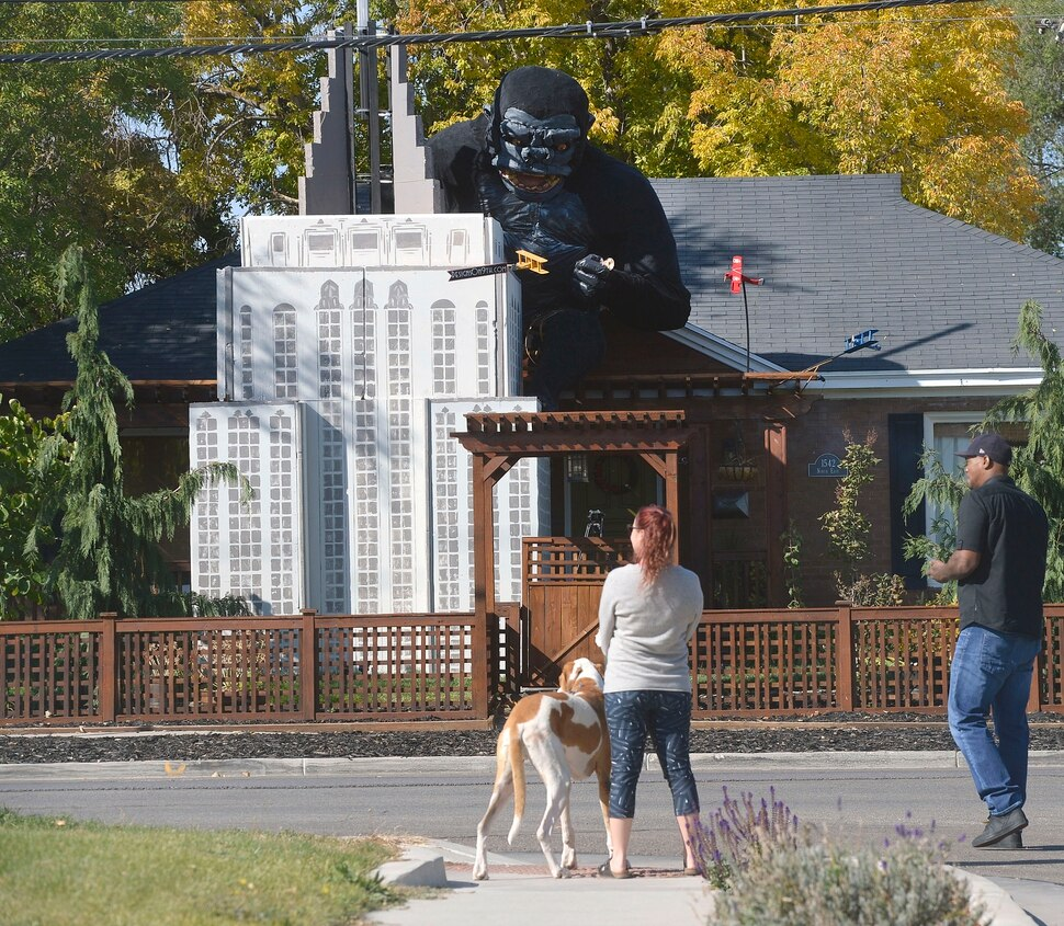 (Al Hartmann | The Salt Lake Tribune) Ammon Smith has outdone himself again this Halloween season dressing up his home along 900 East in Sugarhouse. He's done something wild and scary in his yard for the past five years. This year it's King Kong. Neighbors stop by to check out the display Thursday Oct. 12.