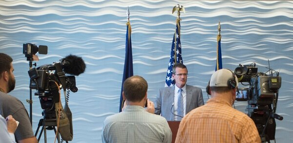 Steve Griffin / The Salt Lake Tribune Special Agent in Charge Eric Barnhart announces that the FBI is now offering a reward of up to $50,000 for information leading to the arrest and conviction of the fugitive Lyle Steed Jeffs during a press conference at the FBI Salt Lake City Field Office in Salt Lake City Monday August 29, 2016.
