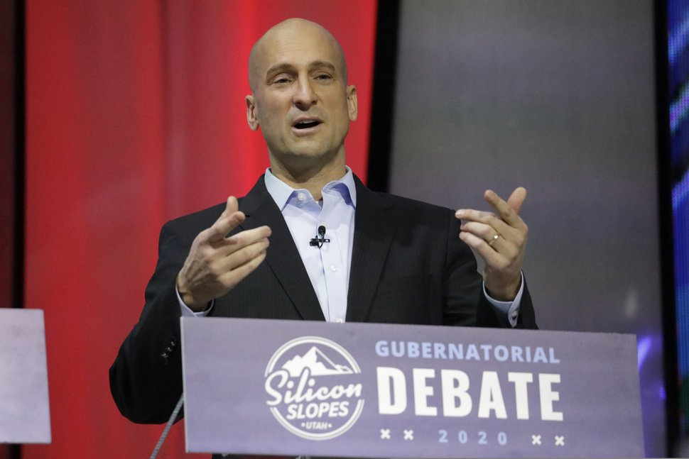 Real-estate executive Thomas Wright speaks during a debate for Utah's 2020 gubernatorial race Friday, Jan. 31, 2020, in Salt Lake City. Six candidates vying for the GOP nomination in the Utah governor's race meet for their first debate. The debate is part of the Silicon Slopes Tech Summit, a conference for the state's burgeoning tech sector. (AP Photo/Rick Bowmer)