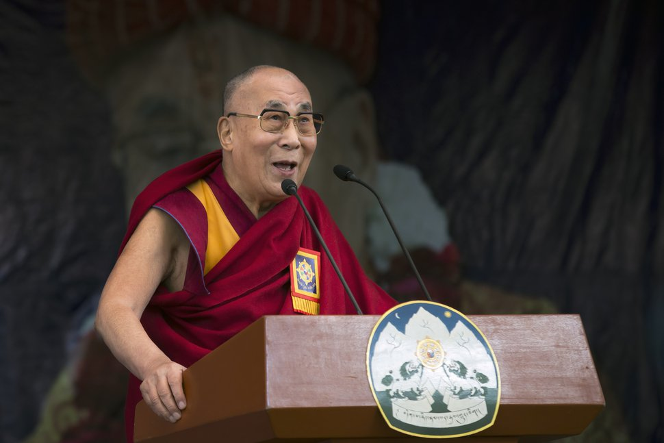 Tibetan spiritual leader the Dalai Lama speaks at an event marking the beginning of the 60th year of his exile in India, in Dharmsala, India, Saturday, March 31, 2018. The Dalai Lama thanked India for giving shelter to him and said Tibetans have turned their unfortunate circumstances into a path of enlightenment by reviving their spirit and influence wherever they are. (AP Photo/Ashwini Bhatia)