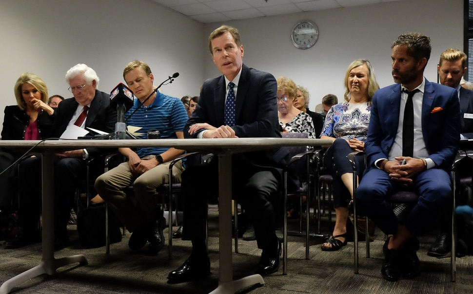 (Francisco Kjolseth | The Salt Lake Tribune) Psychiatrist Mark Foote speaks in support of a ban on conversion therapy during a packed public hearing by state regulators in Salt Lake City on Thursday, Sept. 26, 2019.