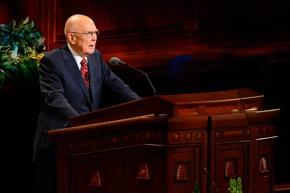 (Trent Nelson | The Salt Lake Tribune) President Dallin H. Oaks speaks during the afternoon session of the189th Annual General Conference of The Church of Jesus Christ of Latter-day Saints in Salt Lake City on Sunday, April 7, 2019.