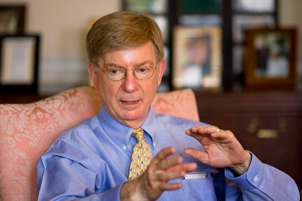 Conservative columnist and pundit George Will, is interviewed in this office in the Georgetown section of Washington on Tuesday, April 22, 2008. (AP Photo/J. Scott Applewhite)