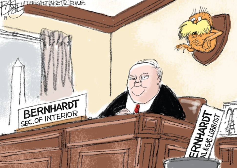 This Pat Bagley cartoon appears in The Salt Lake Tribune on Wednesday, Feb. 6, 2019.