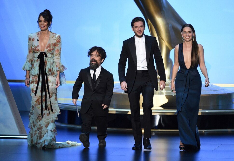 Lena Headey, from left, Peter Dinklage, Kit Harington and Emilia Clarke, of the cast of Game of Thrones, appear on stage to present the award for outstanding supporting actress in a limited series or movie at the 71st Primetime Emmy Awards on Sunday, Sept. 22, 2019, at the Microsoft Theater in Los Angeles. (Photo by Chris Pizzello/Invision/AP)