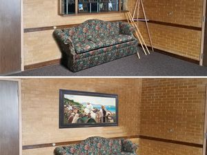 (Photo courtesy of The Church of Jesus Christ of Latter-day Saints) Top and bottom images show Latter-day Saint meetinghouse foyers without and with Savior-focused art to illustrate how the suggested changes can increase focus on Jesus Christ.