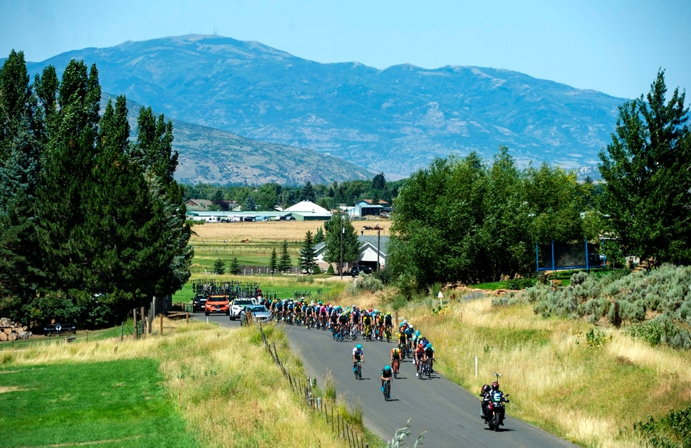 (Rick Egan | The Salt Lake Tribune) Cyclists make their way towards Francis, Utah, on their 78.2 mile journey in stage 6 of the Tour of Utah, Sunday, Aug. 18, 2019.