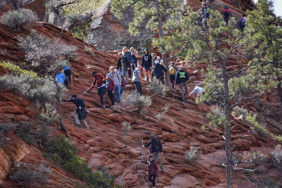 (NPS Photo | Avery Sloss) Crowds of greater than 10 people within 6 feet of each other on the Angels Landing Trail on Saturday, March 21, 2020.