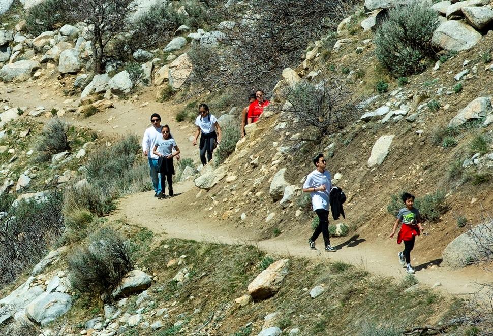 (Rick Egan | The Salt Lake Tribune) Hikers make their way up the Bell Canyon Trail, Tuesday April 7, 2020
