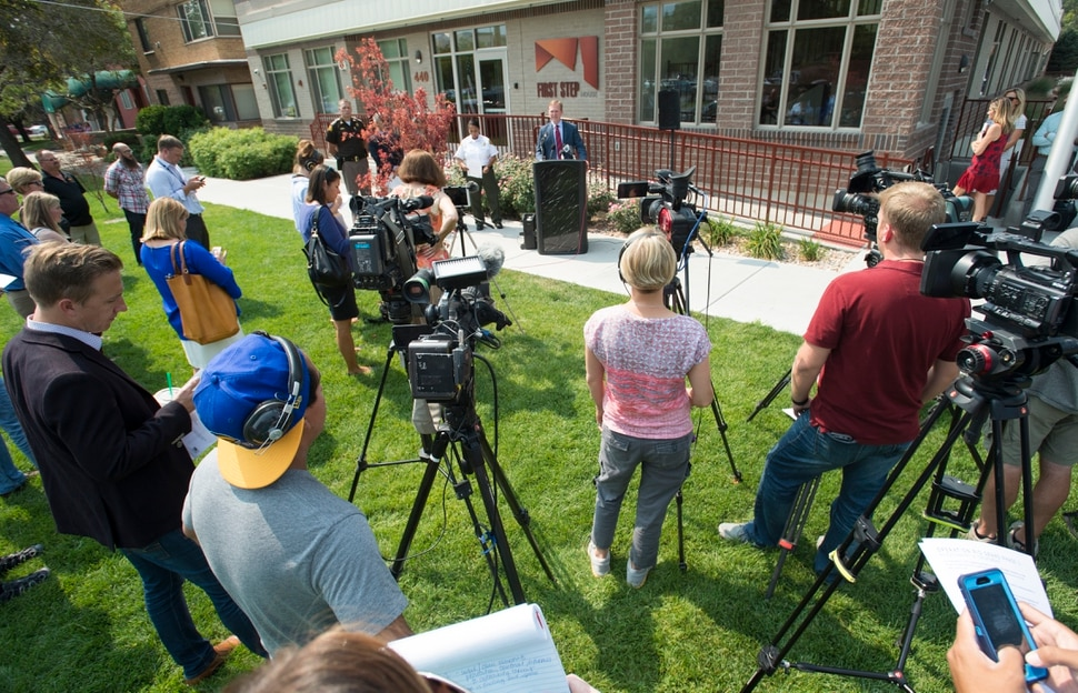 (Rick Egan | The Salt Lake Tribune) Mayor Ben McAdams talks about the current efforts to move eligible Operation Rio Grande arrestees out of jail and into treatment, during a news conference at the First Step House, Thursday, September 7, 2017.