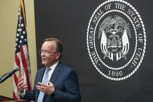(Steve Griffin   Deseret News, pool) Senate President Stuart Adams, R-Layton, speaks during the daily COVID-19 briefing at the Capitol in Salt Lake City on Wednesday, June 17, 2020.