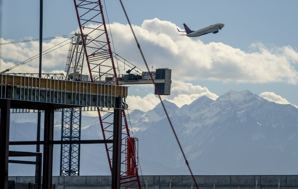 Leah Hogsten | The Salt Lake Tribune The new Salt Lake City International Airport expansion project, Monday, Oct. 22, 2018. The first phase construction of the $3.6 billion project is due to open in 700 days. Nearing completion is the new concourse for aircraft gates, an enclosed terminal, the steel skeleton of a new
